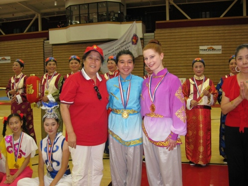 Ah-Lan Dance Dancers with their first place medals from NCCCAF's International Martial Arts and Dance Competition